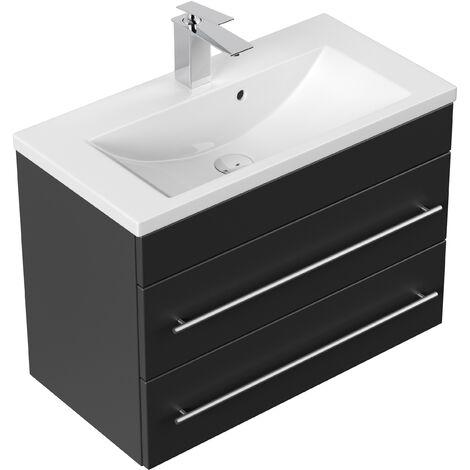 Meuble salle de bain Mars 700 SlimLine noir satiné