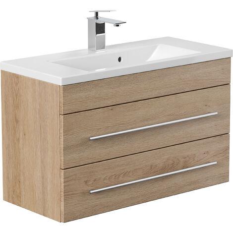 Meuble salle de bain Mars 800 SlimLine décor chêne
