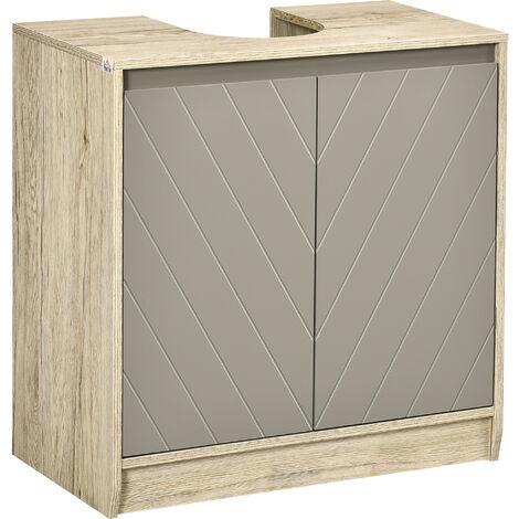 """main image of """"Meuble salle de bain - meuble sous-vasque - placard 2 portes avec étagère - dim. 60L x 30l x 59H cm - panneaux particules chêne clair gris - Gris"""""""