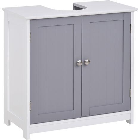 Meuble salle de bain - meuble sous-vasque - placard 2 portes avec étagère - dim. 60L x 30l x 60H cm - MDF gris blanc