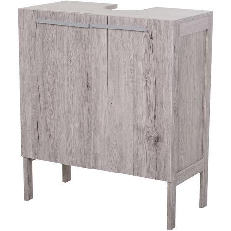 Meuble salle de bain - meuble sous-vasque - placard 2 portes avec étagère - dim. 60L x 30l x 70H cm - MDF imitation bois gris