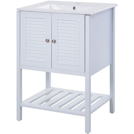 Meuble salle de bain - meuble sous-vasque - vasque incluse - placard 2 portes persiennes + étagère inférieure - dim. 61L x 47l x 87H cm - MDF céramique blanc