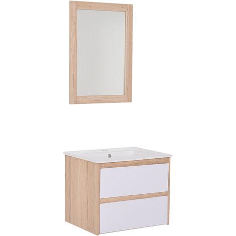 Meuble salle de bain - meuble sous-vasque - vasque + miroir inclus - 2 tiroirs - dim. 59L x 45I x 48H cm - MDF blanc et imitation bois chêne céramique blanc