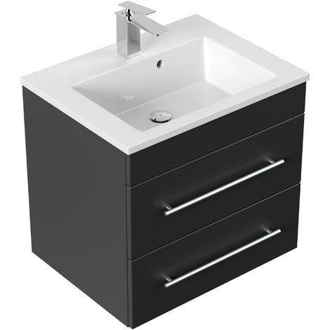 Meuble salle de bain Milet noir satiné