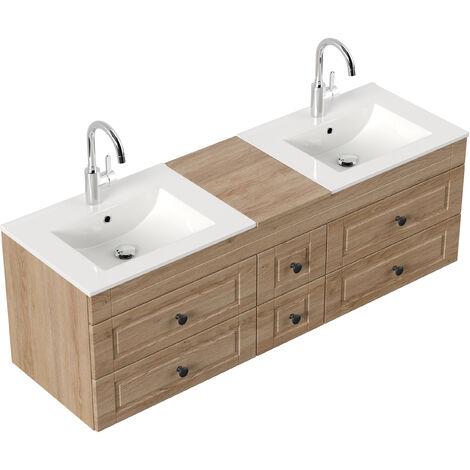 Meuble salle de bain Roma XL Cottage double vasque Décor chêne