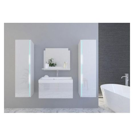 Meuble salle de bain SANDY blanc laqué - Blanc