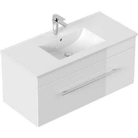 Meuble salle de bain SANTINI 100 blanc, façades blanches brillance