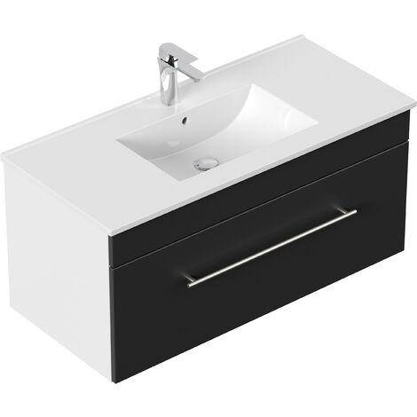 Meuble salle de bain SANTINI 100 noir satiné