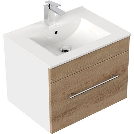 Meuble salle de bain SANTINI 60 décor chêne