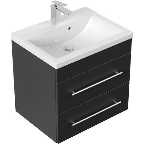 Meuble salle de bain SIA noir satiné