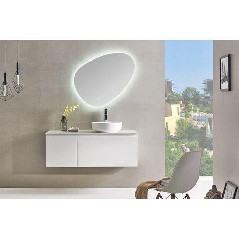 Meuble salle de bain simple vasque 120 cm, INO blanc