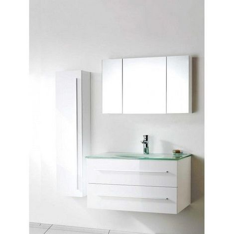 Meuble salle de bain simple vasque 90 cm, 1 colonne, 1 miroir armoire, NOE BLANC