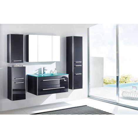 Meuble salle de bain simple vasque 90 cm, 3 colonnes, JIN GRIS