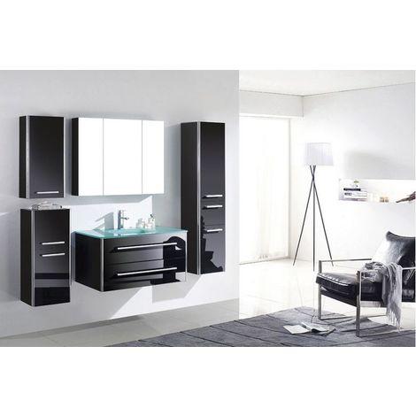 Meuble salle de bain simple vasque 90 cm, 3 colonnes, JIN NOIR