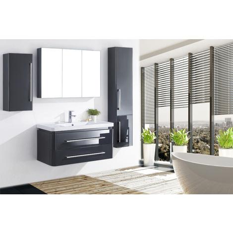 Meuble salle de bain simple vasque 99 cm, 2 colonnes, TIA GRIS