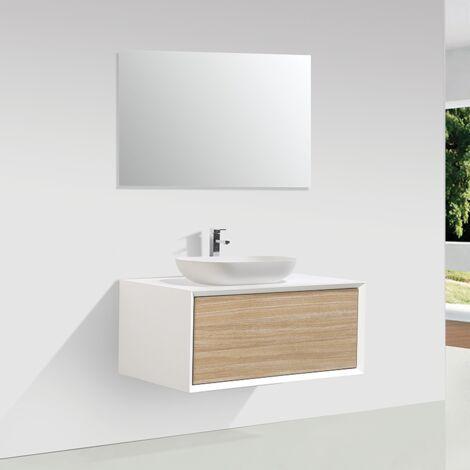 Meuble salle de bain simple vasque PALIO 90 cm blanc / chêne clair texturé - Blanc
