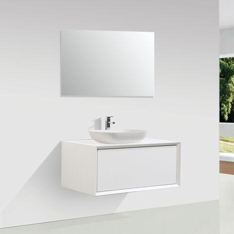 Meuble salle de bain simple vasque PALIO 90 cm blanc mat - Blanc