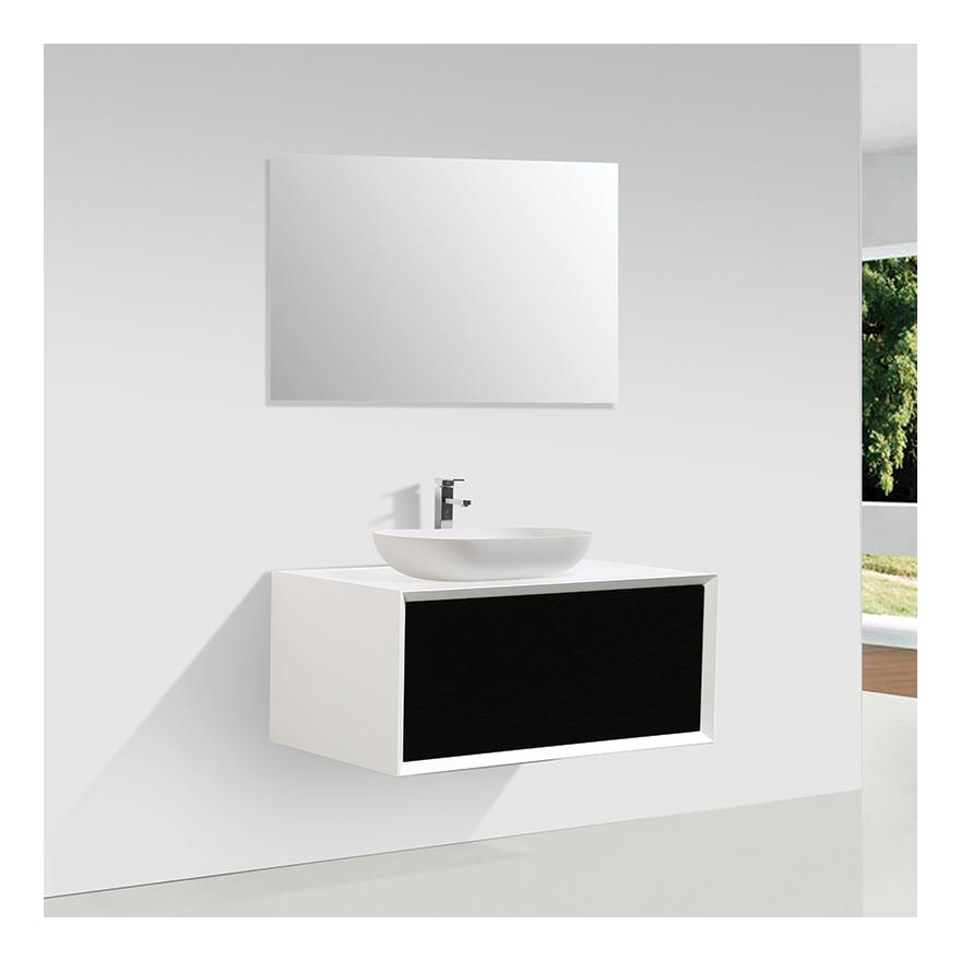 Meuble Salle De Bain Simple Vasque Palio 90 Cm Blanc Noir Mat