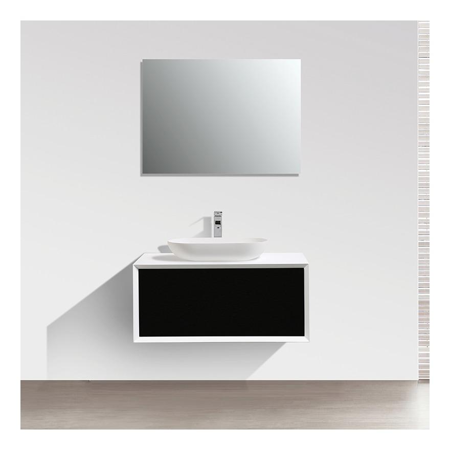 Meuble salle de bain simple vasque PALIO 90 cm, blanc / noir mat