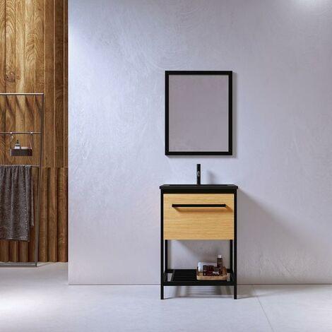 Meuble salle de bain SMART 60 cm en métal noir avec vasque céramique noire - Noir