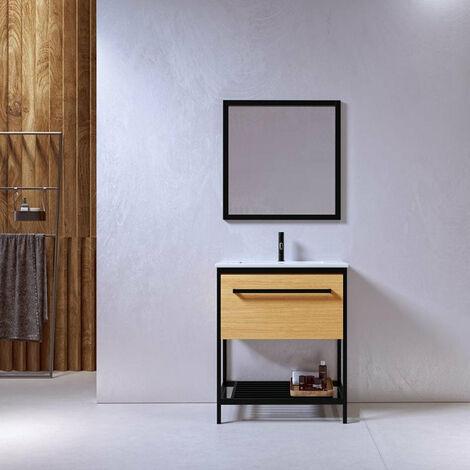 Meuble salle de bain SMART 80 cm en métal noir avec vasque céramique blanche - Noir