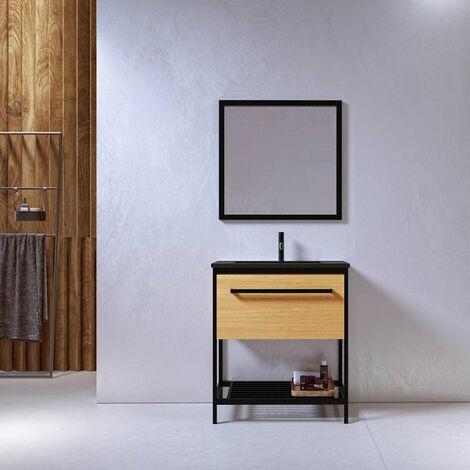 Meuble salle de bain SMART 80 cm en métal noir avec vasque céramique noire - Noir