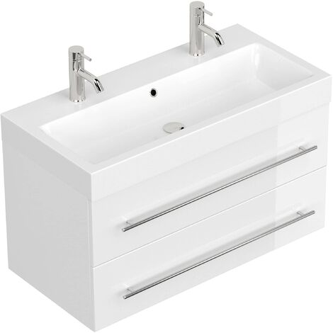 Meuble salle de bain Sunrise blanc brillant