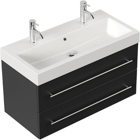 Meuble salle de bain Sunrise noir aspect satiné