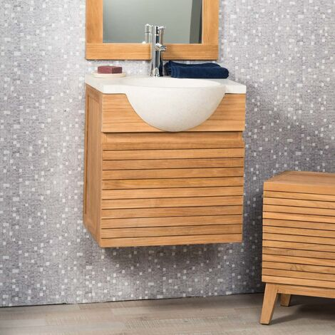 Meuble salle de bain suspendu avec vasque teck 50 CONTEMPORAIN crème ...