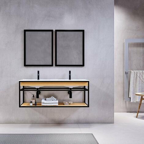 Meuble salle de bain suspendu PURE 120 cm en métal noir avec double vasque blanche - Noir