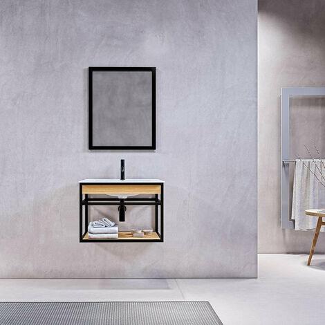 Meuble salle de bain suspendu PURE 60 cm en métal noir avec vasque céramique blanche - Noir