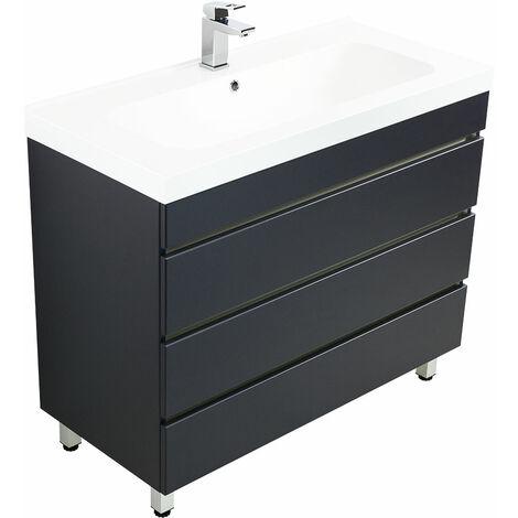 Meuble salle de bain Talis 100 anthracite à poser avec tiroirs sans poignées