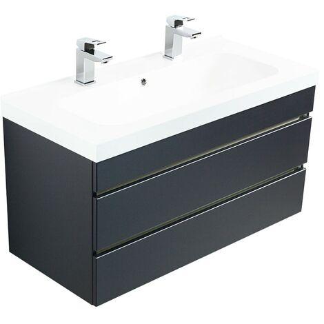 Meuble salle de bain Talis 100 double vasque anthracite tiroirs sans poignées