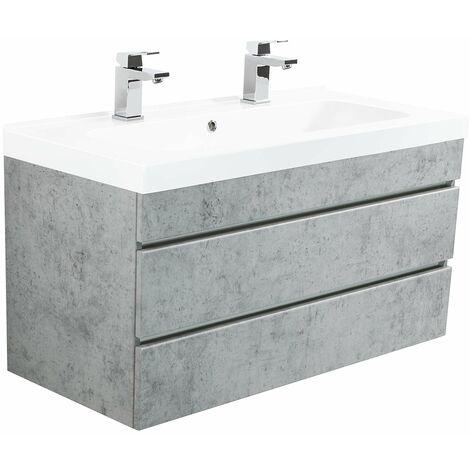 Meuble salle de bain Talis 100 double vasque Aspect Béton sans poignées