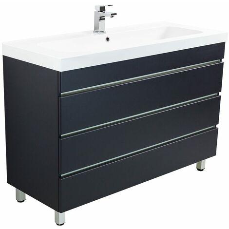 Meuble salle de bain Talis 120 anthracite à poser avec tiroirs sans poignées