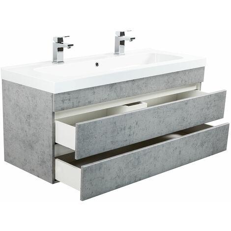 Meuble salle de bain Talis 120 double vasque Aspect Béton sans poignées