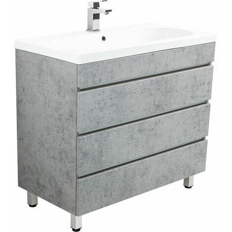 Meuble salle de bain Talis 90 Aspect Béton à poser avec tiroirs sans poignées