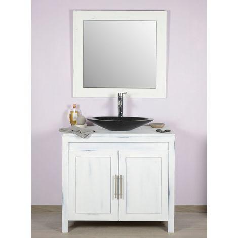 Meuble salle de bain teck 90 blanchi