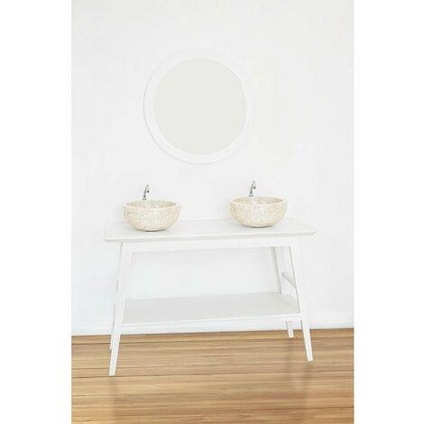 Meuble salle de bain TORI en teck blanc 120 cm - Blanc