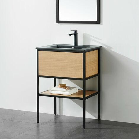 Meuble salle de bain TORY 60 cm en métal noir avec vasque céramique noire - Noir