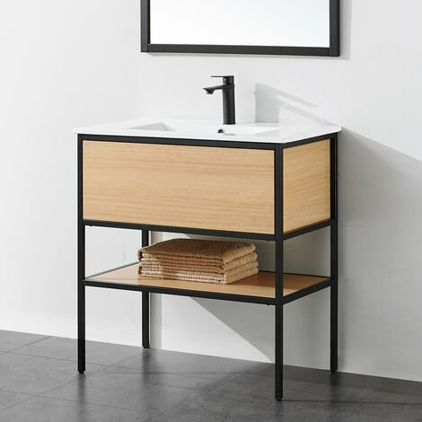 Meuble salle de bain TORY 80 cm en métal noir avec vasque céramique blanche - Noir