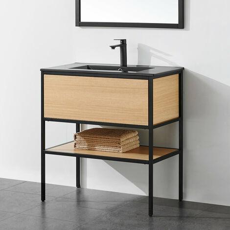 Meuble salle de bain TORY 80 cm en métal noir avec vasque céramique noire - Noir