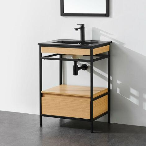 Meuble salle de bain UNIK 60 cm en métal noir avec vasque céramique noire - Noir