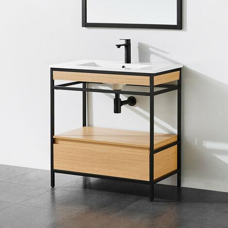 Meuble salle de bain UNIK 80 cm en métal noir avec vasque céramique blanche - Noir