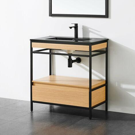Meuble salle de bain UNIK 80 cm en métal noir avec vasque céramique noire - Noir