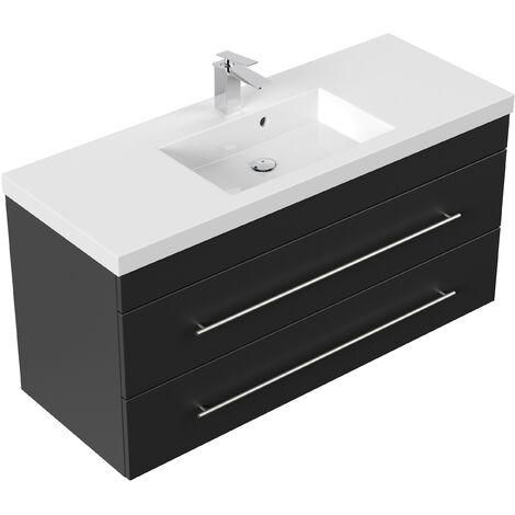 Meuble salle de bain Versus noir satiné