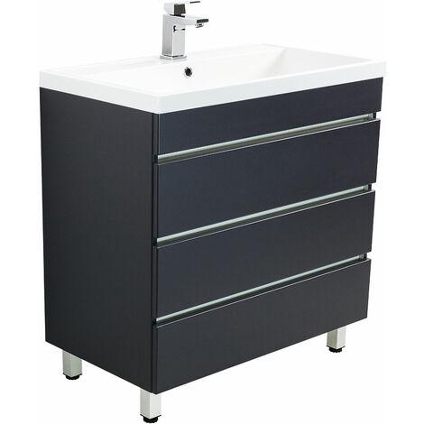 Meuble salle de bain Via 80 anthracite à poser avec tiroirs sans poignées