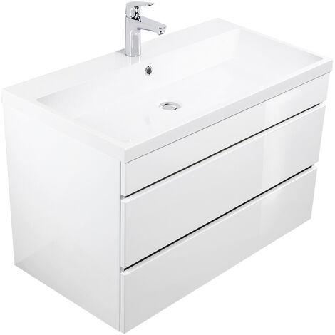 Meuble salle de bain Via 90 blanc brillant avec tiroirs sans poignées