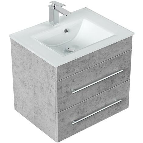 Meuble salle de bain Vitro vasque en verre en Aspect Béton