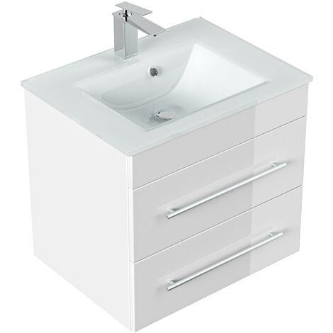 Meuble salle de bain Vitro vasque en verre en blanc brillant